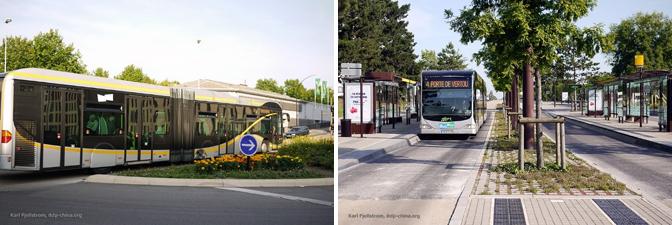 Ejemplo de sistema BRT (Bus Rapid Transit) de la ciudad de Nantes, Francia, de alto estándar.